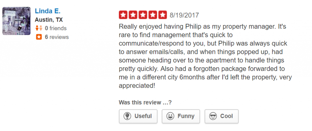 Positive Yelp review